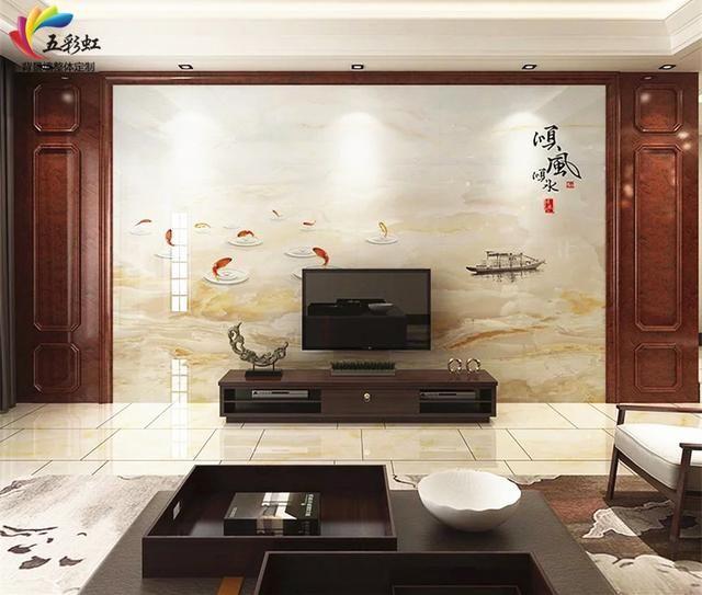 8,新中式微晶石电视背景墙搭配石材护墙板装修效果图