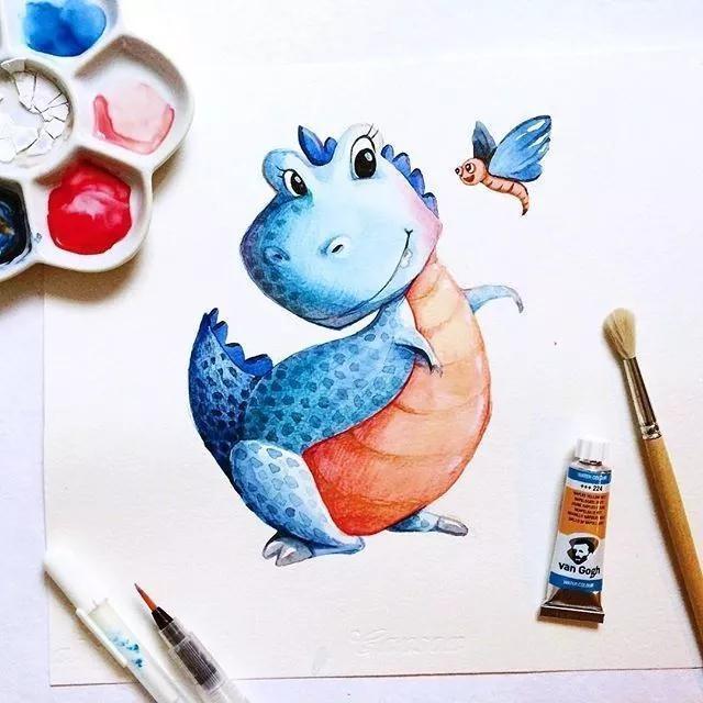 这位妈妈陪女儿画画,呆萌可爱的动物暖化了一票网友