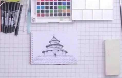 天坛创意美术手绘教程,包你学会彩铅建筑画
