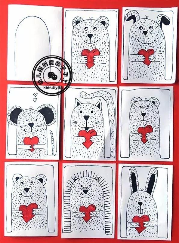 儿童简笔画教程:爱心小熊一步一步画,情人节的表白送给你-儿童简
