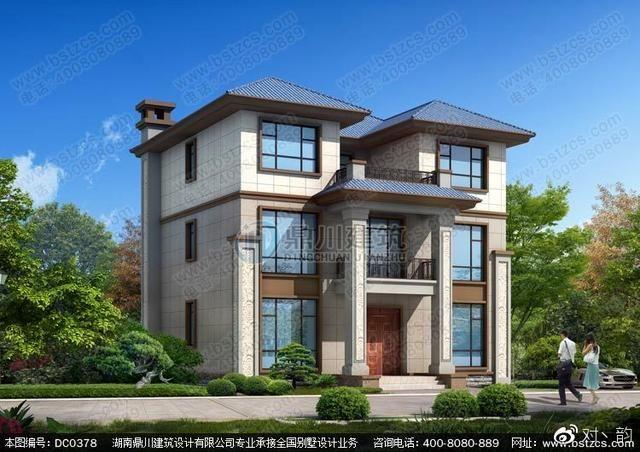 新中式三层带露台农村别墅设计效果图及彩色户型图