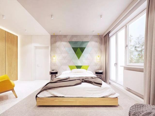 卧室通往阳台的门以落地窗设计,增加光线的引入.