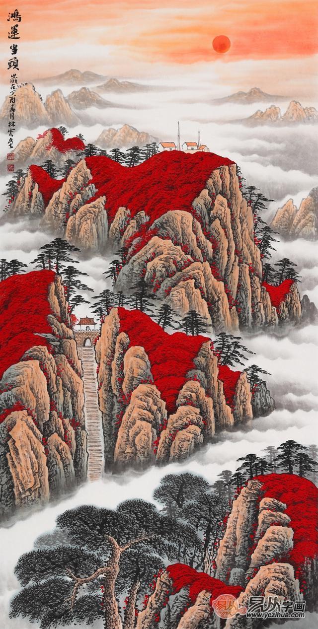 十四幅名家李林宏国画鸿运当头山水画,带你一饱眼福图片