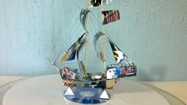 纯手工制作远洋帆船模型,将易拉罐合理的运用,是不是很有创意