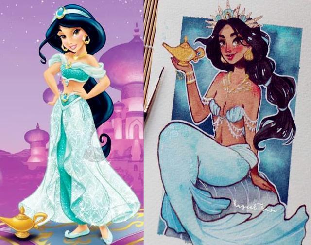 迪士尼公主 小美人鱼_乐乐简笔画图片