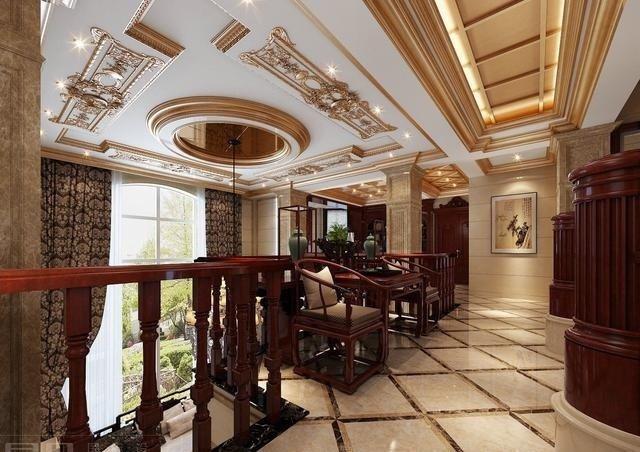 欧式别墅配中式红木家具,满满壕宅风!感不感动?经济指标别墅的图片