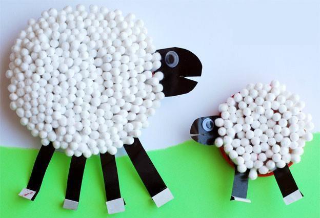 棉签小绵羊卡纸绵羊粘贴画毛线小绵羊毛线纸团小绵羊硬纸板纸巾