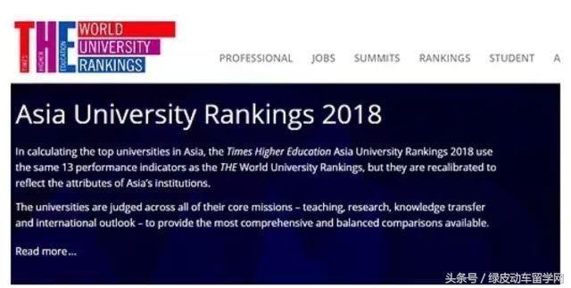 2018泰晤士亚洲大学排名|韩国院校进入前100
