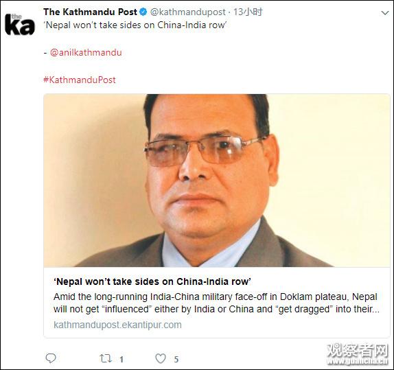 尼泊尔对中印对峙持中立态度 但有2机构大力挺中 - 钟儿丫 - 响铃垭人