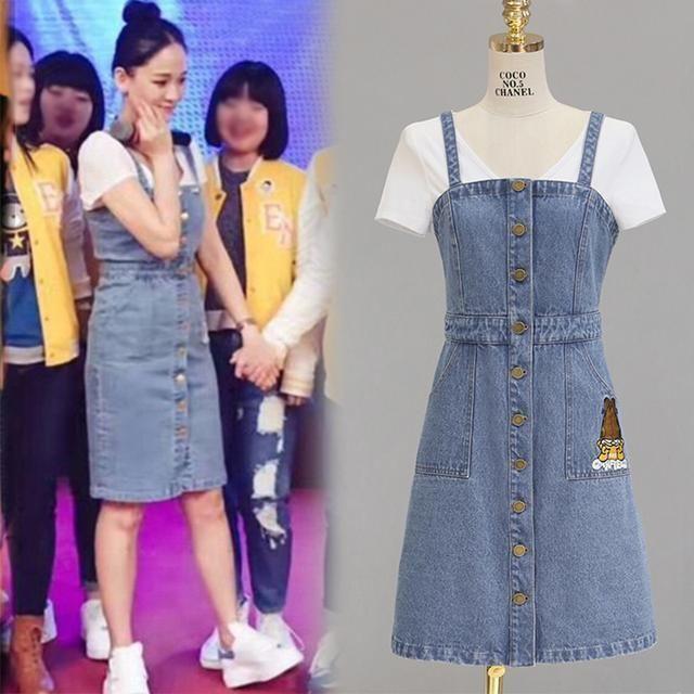 神仙姐姐刘亦菲穿这款背带牛仔裙搭配T恤,简直美出新天际了 时尚潮流 第8张